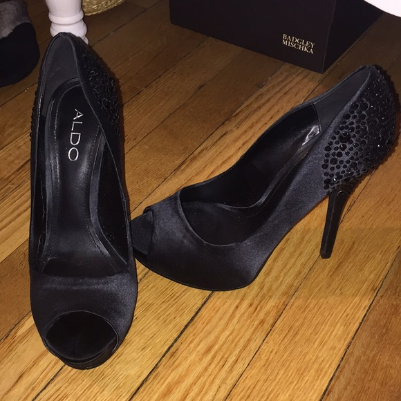 e613bfcd342 ALDO Black satin beaded heels
